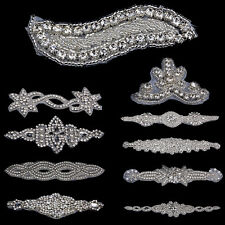 Rhinestone Trim Applique Motif Bridal Dress Applique Iron / Sewing On Decor