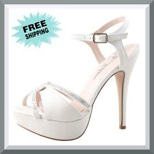 Womens AU White Platform Heels Bridal Wedding Evening Sandals Party Ladies Shoes