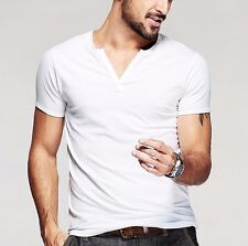 Mens Slim Fitted Casual T-shirt Slim Short Sleeve V Neck Cotton Basic Tee M~2XL