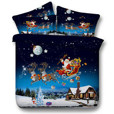 Santa Claus Bedding Doona/Duvet Cover Set Bed Linen Pillowcases Quilt Cover Set
