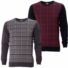 Gabicci Mens Check Knitted Jumper Crew Neck Long Sleeve Ribbed Hem Cuff Sweater