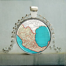 Mexico Map Necklace Vintage Map Art Pendant Photo Charm Pendant Jewelry