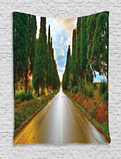Boulevard with Trees in Country Life Artistic Photo Print Wall Hanging Tapestry