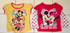 Baby Toddler Girls Disney Minnie Mickey Mouse Short Long Sleeve Shirt Lot 2T