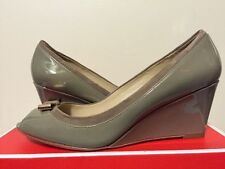 Coach Georgann Slate Patent Leather / Suede Women's Wedge Heels Pump 7.5, 8, 8.5