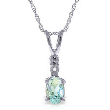 """0.46 CTW 14K  White gold Another Victory Aquamarine Diamond Necklace 16-24"""""""