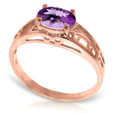 Brand New 14K Solid Rose Gold Filigree Ring with Natural Purple Amethyst