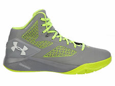 NEW MENS UNDER ARMOUR CLUTCHFIT DRIVE 2 BASKETBALL SHOES TRAINER STEEL / HI-VIS