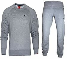 NEW NIKE MENS FOUNDATION GREY FLEECE TRACKSUIT CREW NECK TOP & JOGGERS BOTTOMS