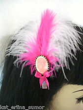 CORPSE BRIDE+PINK FEATHER HAIR CLIP...Goth,Lolita,Steampunk,Rockabilly,Pin-Up