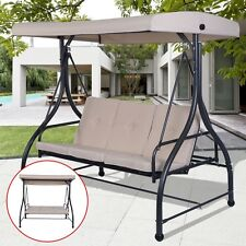 3 Seat Converting Swing Bench Chair Seat Hanging Cushioned Liivng Room Furniture