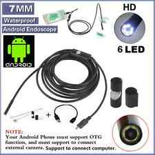 Waterproof 7mm 6LED Android Endoscope Borescope Snake Inspection Camera Scope SY
