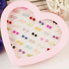 Wholesale Mixed 4-6mm 36 Pairs Pearl Ear Studs Earrings Fashion Jewelry With Box