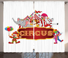 Cute Circus Animals and Striped Cirus Tent Party Theme Art Curtain 2 Panels Set