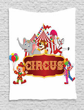 Cute Circus Animals and Striped Cirus Tent Party Theme Art Wall Hanging Tapestry