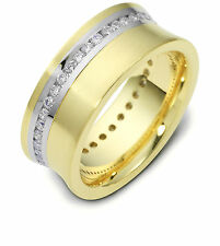 18K Two-Tone, Concave Channel Set 8MM Wedding Band, 5/8 cttw sz 4-14