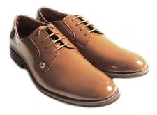 NEW MENS LACE UP PATENT OXFORDS CLASSIC LEATHER LINED DRESS SHOES FORMAL BROWN