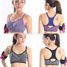 Womens Fitness Gym Sports Bra Stretch Workout Tank Top Seamless Racerback Padded