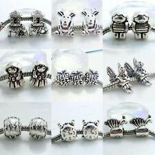 10pcs Silver Retro Spacer Beads Fit European Charm Bracelet Fingings