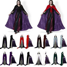 Velvet Hooded Cloak In Purple Halloween Medieval Wedding Cape Wicca Stock S-6XL