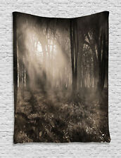 Photo of Dark Forest Scene Twilight Fog Gothic Theme Print Wall Hanging Tapestry