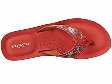 NEW Coach Judy Size 6.5 Red Signature Canvas Sandals Flip Flops Shoes $78