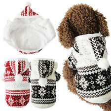 Warm Pet Dog Teddy Hoodie Coat Clothes Cozy Snowflake Costume Clothing Jacket
