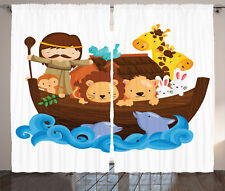 Historical Story of Noah's Ark with Animals Saving Nature Curtain 2 Panels Set