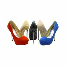 Ladies high heel court shoes with metal stiletto heel