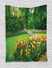 Garden with Tulip Flowers Trees Spring Floral Decor Print Wall Hanging Tapestry