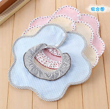 Kids Toddler Cartoon Lunch Bibs Infant Baby Soft Flower Saliva Towel Bib New