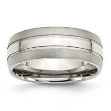 Stainless Steel Grooved 8mm Brushed and Polished Band Ring - Ring Size: 8 to 14