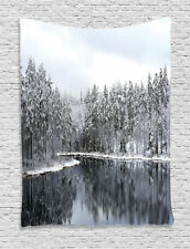 Lake with Snow on Trees Winter Decor Finland Nature Image Wall Hanging Tapestry