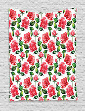 Watercolor Style Roses and Buds Planet Earth Themed Print Wall Hanging Tapestry