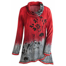 Tunic Top - Red and Gray Sky Cowl Neck Long Sleeve Shirt