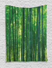 Asian Nature Exotic Bamboo Trees in Rainforest Green Decor Wall Hanging Tapestry