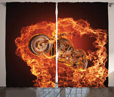 Chopper Bike on Fire Motorbike Extreme Sports Manly Image Curtain 2 Panels Set