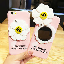 Cute Sweet White Flower Real Mirror Pink Case Cover for Apple iPhone 6 6S 6 Plus