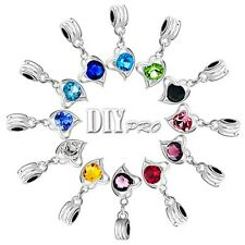 Heart Dangle Love Crystal Charm European Beads Fit Charm Bead Bracelet Pendant