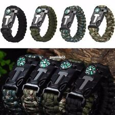 Rope Paracord Survival Bracelet Flint Fire Starter Compass Whistle Outdoor WF1