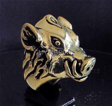 HUGE HEAVY BRONZE RING WITH THE HEAD OF A WILD BOAR ANTIQUED ANY SIZE
