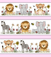 Safari Animal Nursery Decor Wallpaper Border Decals Girl Wall Art Jungle Sticker