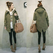 Women Thick Fleece Warm Long Jacket Zip Hooded Parka Winter Coat Overcoat M-XXL