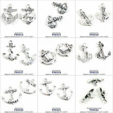 Antique Silver Tone Jewelry Making Charms Boat Anchor Boating Rowing Canoe Beads