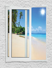 View from the Window of Tropical Island Beach Water Decor Wall Hanging Tapestry