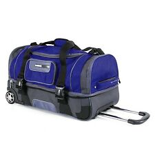 "26"" 2 Section Rolling Duffel Bag Wheeled Luggage Travel Duffle Suitcase - Navy"