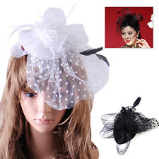 For Wedding Church Party Veil Feather:Lady Top Net Mesh Hat Fascinator Hair Clip
