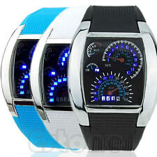 Flash LED Men RPM Turbo Sports Car Meter Dial Watch Wrist Watch Gift Cool New