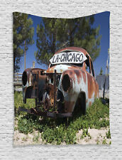 Old Car Trees in Famous Route 66 Road in USA Rustic Decor Wall Hanging Tapestry