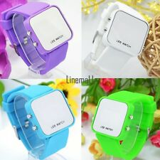 Classical 10 Mini Color Mirror Face LED Silicone Men Lady Sport Watch LM